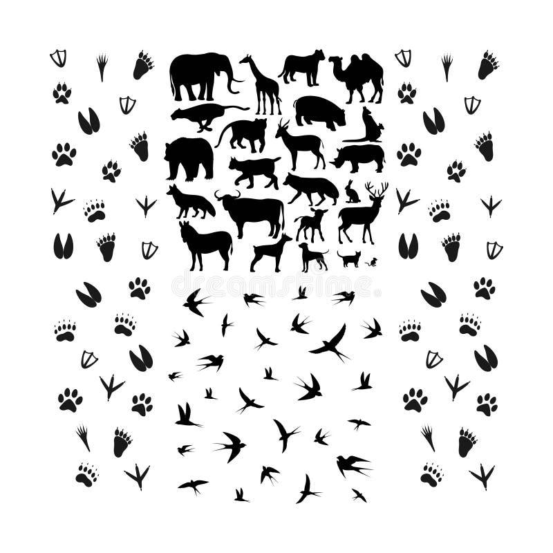 Metta del silhoutte del piede e dell'animale royalty illustrazione gratis