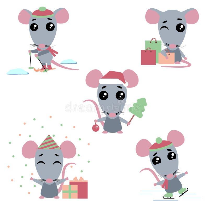 Metta del simbolo cinese dei 2020 anni Ratti con differenti emozioni illustrazione di stock