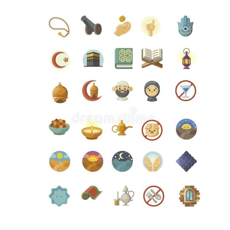 Metta del simbolo ramdhan e ied dell'icona illustrazione di stock