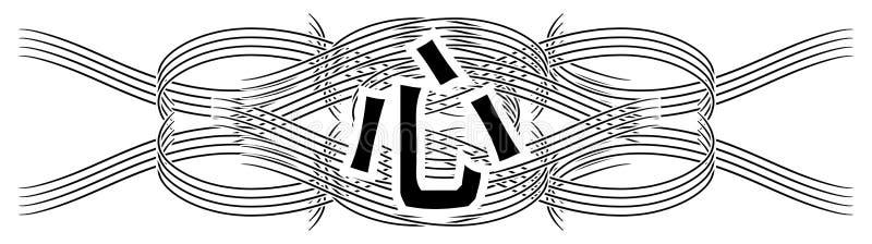 Metta del tatuaggio nero con la mente dell'ideogramma isolato illustrazione di stock