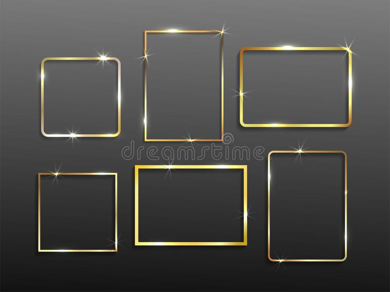 Metta del telaio d'annata d'ardore brillante dell'oro con le ombre Nozze o concetto di giorno di biglietti di S. Valentino Natale illustrazione di stock