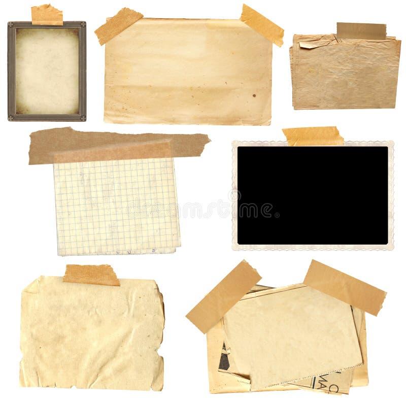 Metta del telaio d'annata e della carta della foto con il nastro adesivo immagini stock