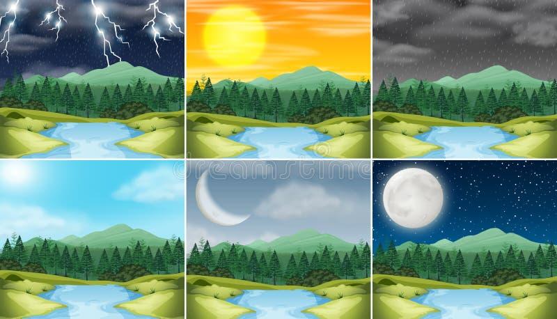 Metta del tempo differente del paesaggio della natura illustrazione vettoriale