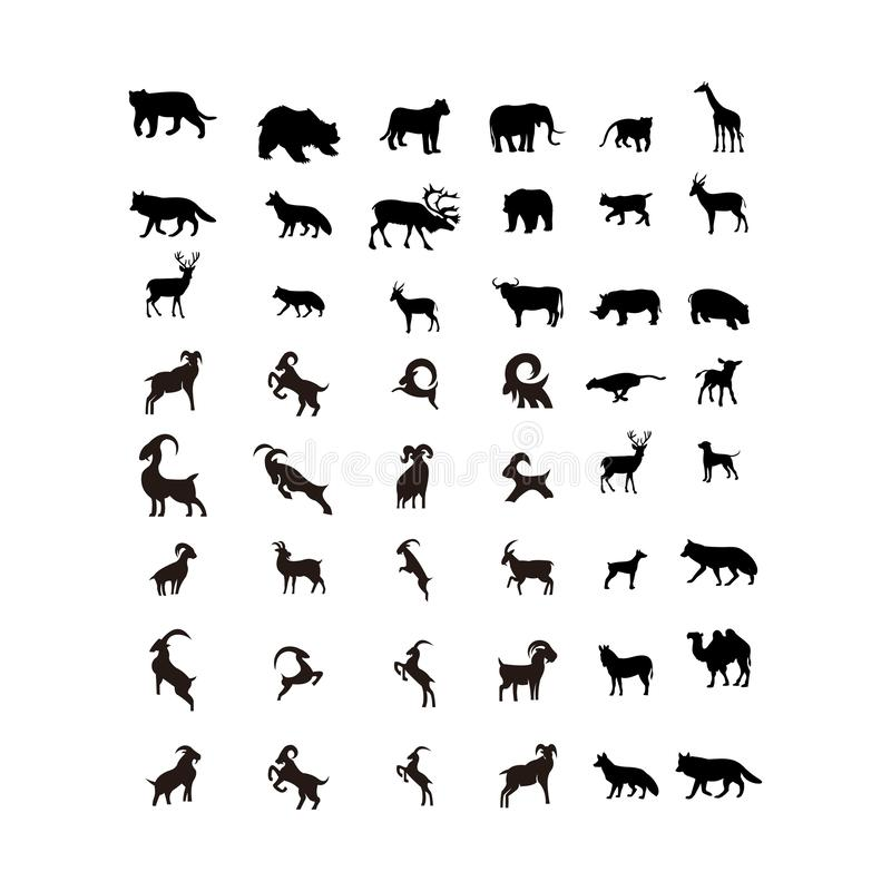 Metta del vettore animale di progettazione di logo della fauna selvatica illustrazione vettoriale