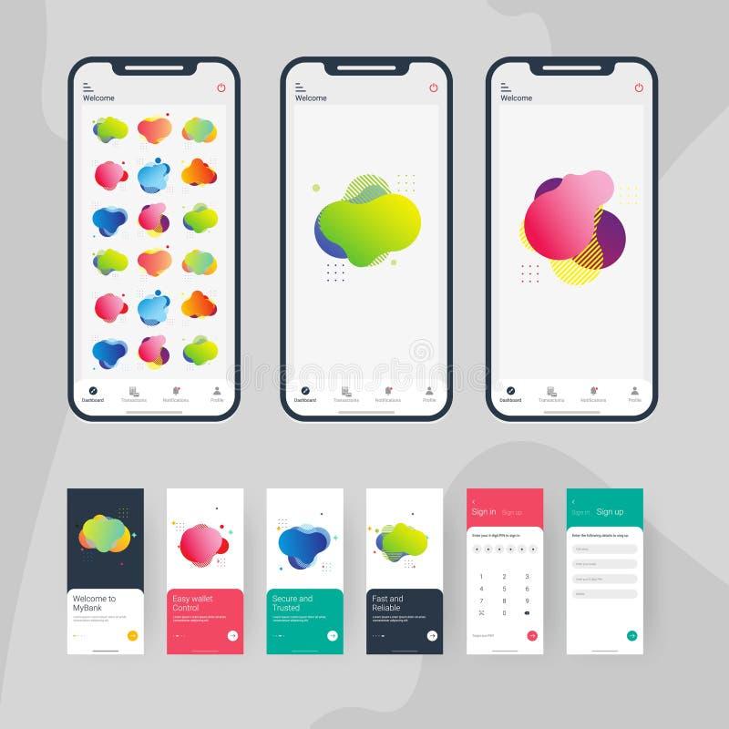 Metta del vettore di progettazione di logo del corredo del app UI illustrazione vettoriale