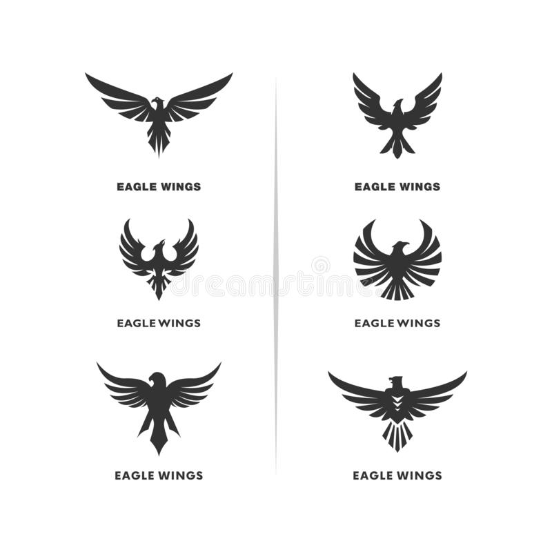 Metta del vettore di progettazione di logo dell'aquila Eagle Logo Design Concepts Template illustrazione vettoriale
