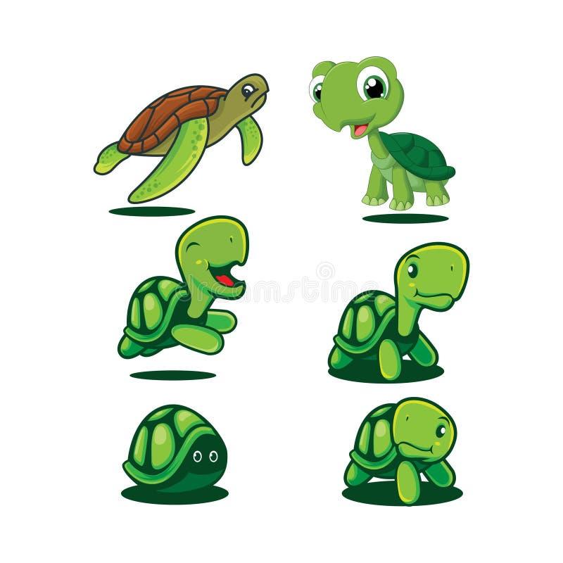Metta del vettore di progettazione di logo della tartaruga del fumetto illustrazione vettoriale
