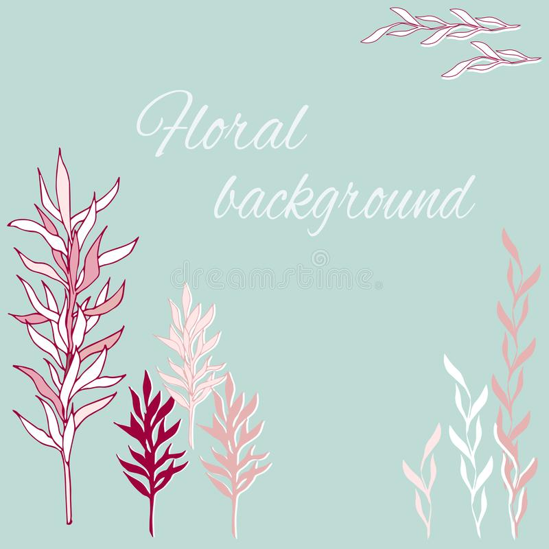 metta del vettore disegnato a mano piante dell'interno e subacquee di colore rosa royalty illustrazione gratis