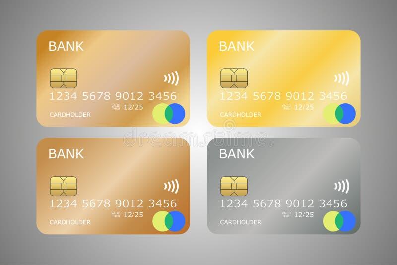 Metta del vettore dorato brillante delle carte di credito royalty illustrazione gratis