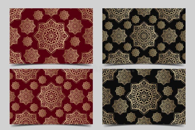 Metta del vettore senza cuciture islamico dell'ornamento, motiff persiano Elementi rotondi islamici del modello del Ramadan Circo illustrazione di stock