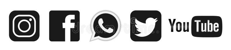 Metta del vettore sociale popolare dell'elemento di Instagram Facebook Twitter Youtube WhatsApp delle icone del logos di media su royalty illustrazione gratis