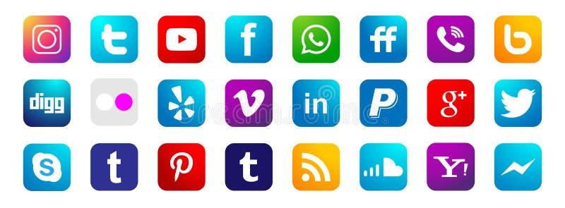 Metta del vettore sociale popolare dell'elemento di Instagram Facebook Twitter Youtube WhatsApp delle icone del logos di media su illustrazione vettoriale