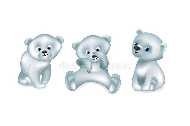 Metta del vettore sveglio bianco degli orsi isolato royalty illustrazione gratis