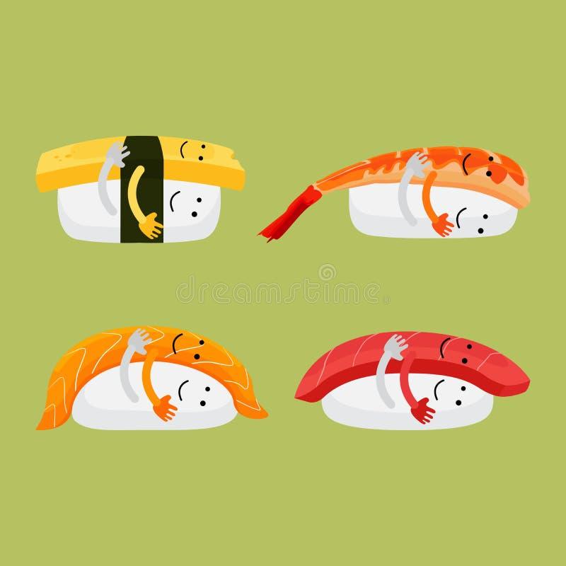 Metta dell'abbraccio giapponese del fumetto dei sushi divertente illustrazione vettoriale
