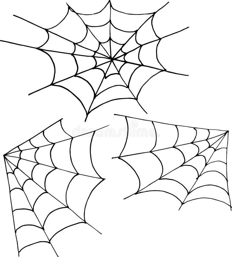 Metta dell'angolo e del giro di web su un fondo bianco Illustrazione del disegno della mano di vettore royalty illustrazione gratis