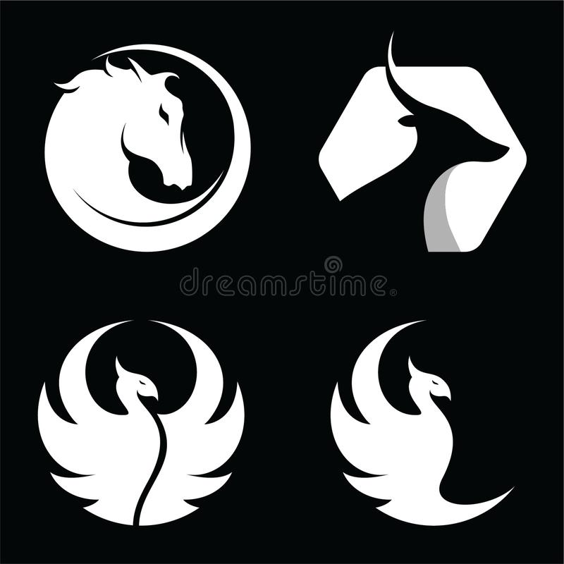 Metta dell'animale, il cavallo, l'antilope, Phoenix, l'uccello Logo Vector illustrazione di stock