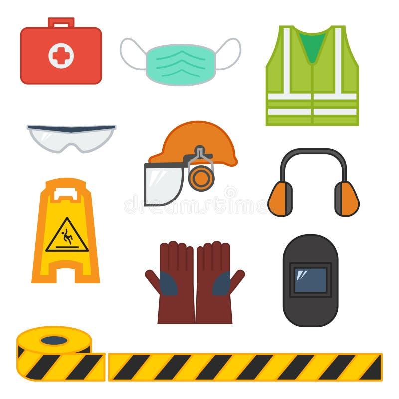 Metta dell'attrezzatura di sicurezza dell'illustrazione di vettore illustrazione di stock