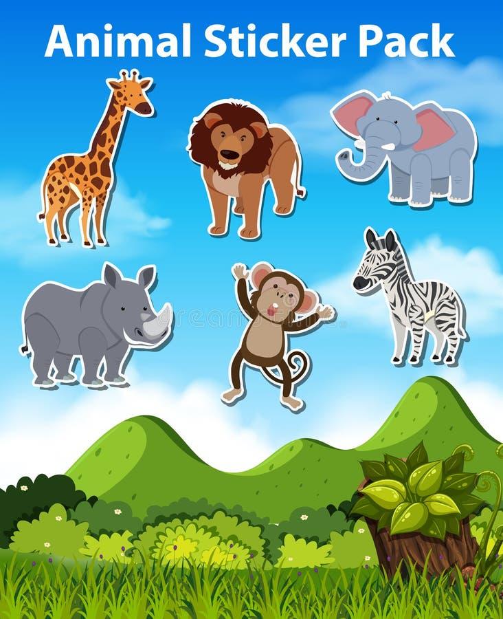 Metta dell'autoadesivo dell'animale selvatico royalty illustrazione gratis