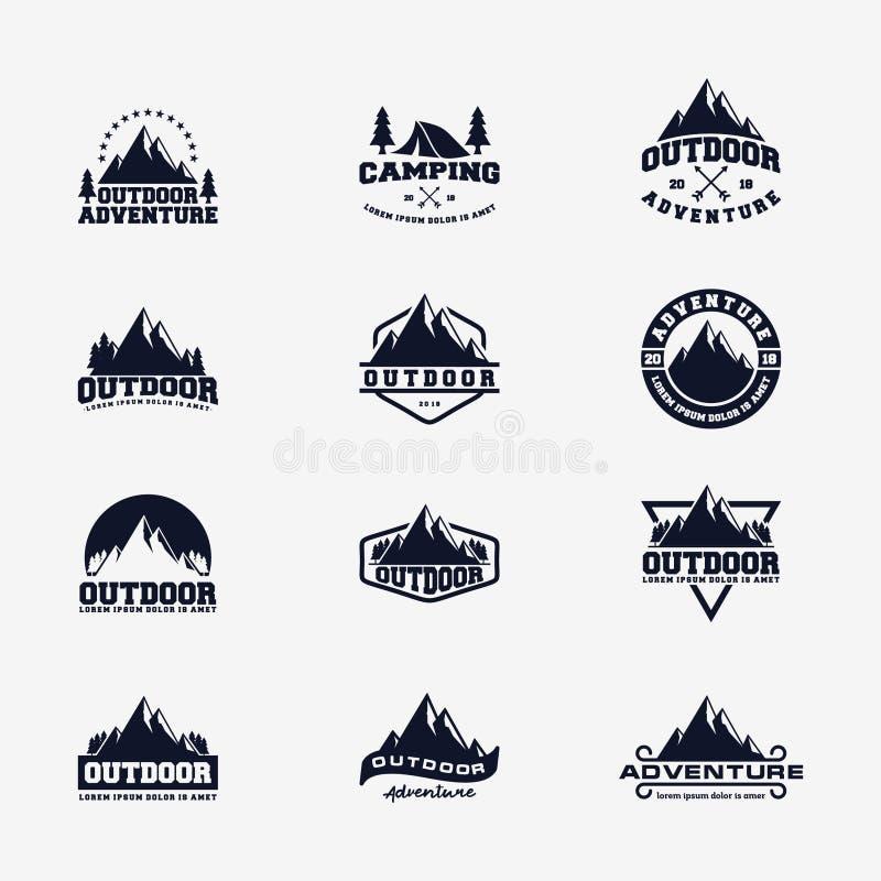 Metta dell'avventura all'aperto Logo Design illustrazione di stock