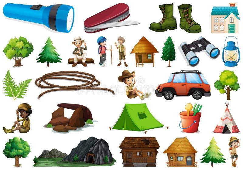 Metta dell'elemento di campeggio illustrazione di stock