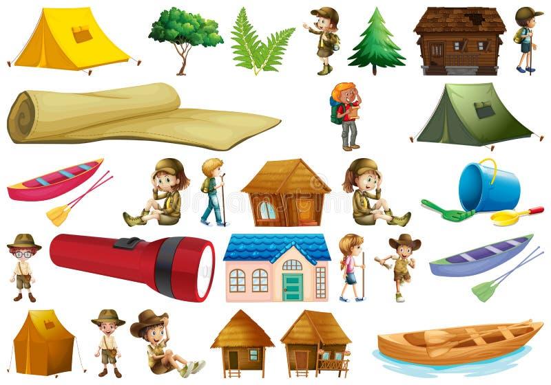 Metta dell'elemento di campeggio illustrazione vettoriale