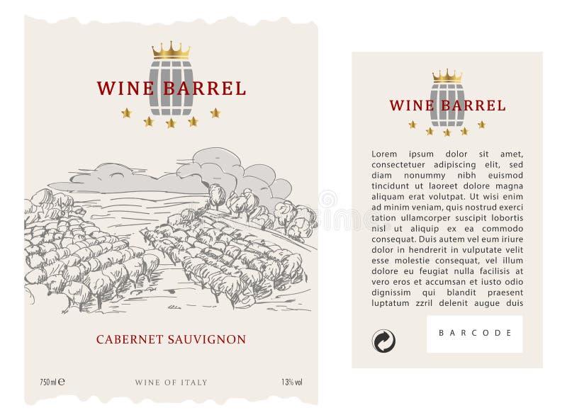 Metta dell'etichetta, della parte anteriore e della parte posteriore del vino di vettore illustrazione di stock