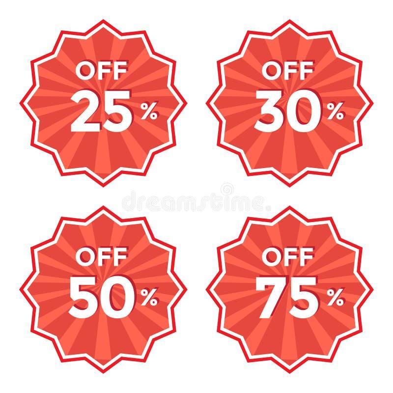 Metta dell'etichetta rossa rotonda Autoadesivo di prezzo di sconto Illustrazione di vettore royalty illustrazione gratis