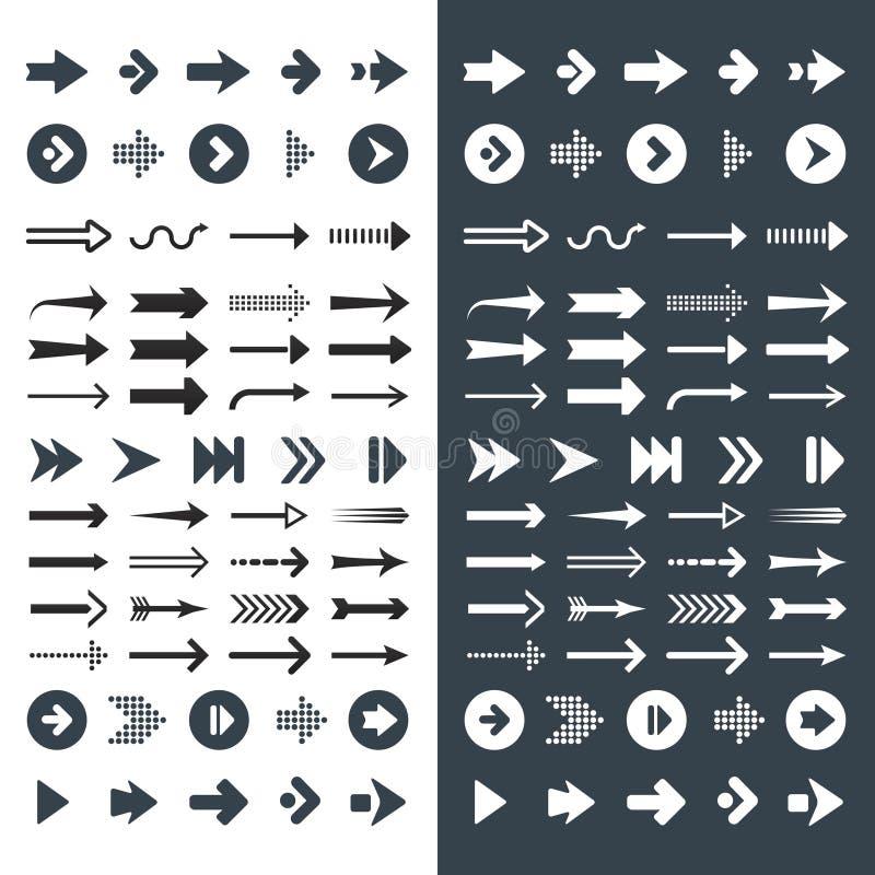 Metta dell'icona e del simbolo della freccia illustrazione vettoriale