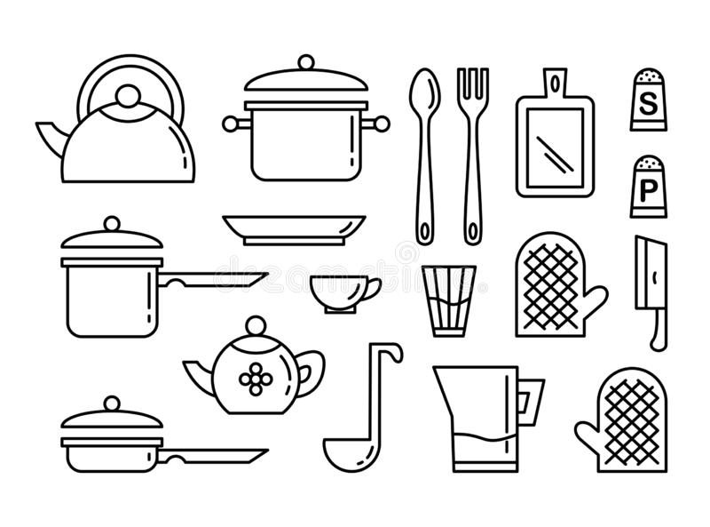 Metta dell'icona lineare di arte degli utensili della cucina Raccolta delle illustrazioni illustrazione di stock