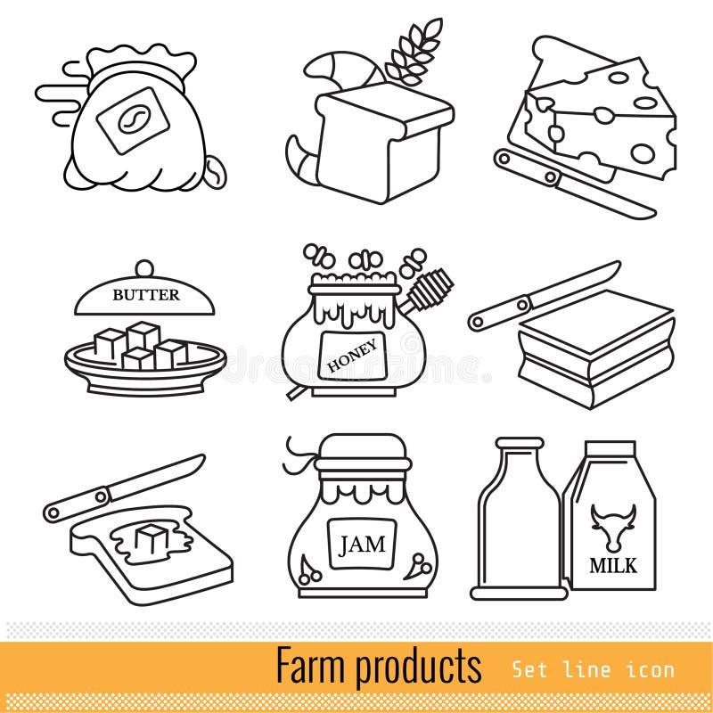 Metta dell'icona semplice di web del profilo Prodotti di fattoria isolati illustrazione di stock