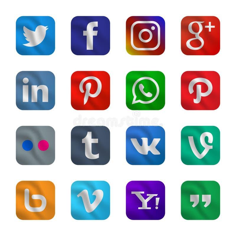Metta dell'icona sociale di media con stile d'ondeggiamento fotografia stock