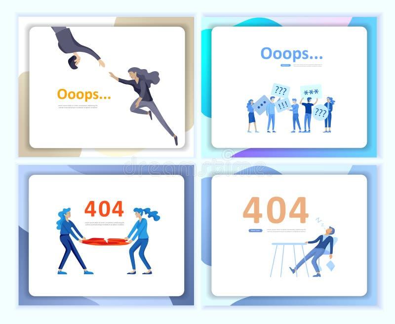 Metta dell'illustrazione d'atterraggio della pagina di errore dei modelli della pagina con i caratteri della gente Pagina non tro illustrazione di stock
