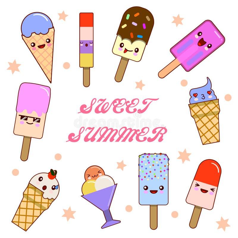 Metta dell'illustrazione del fumetto che divertente gelato con i fronti sorridenti felici per le progettazioni dei bambini e deco illustrazione vettoriale