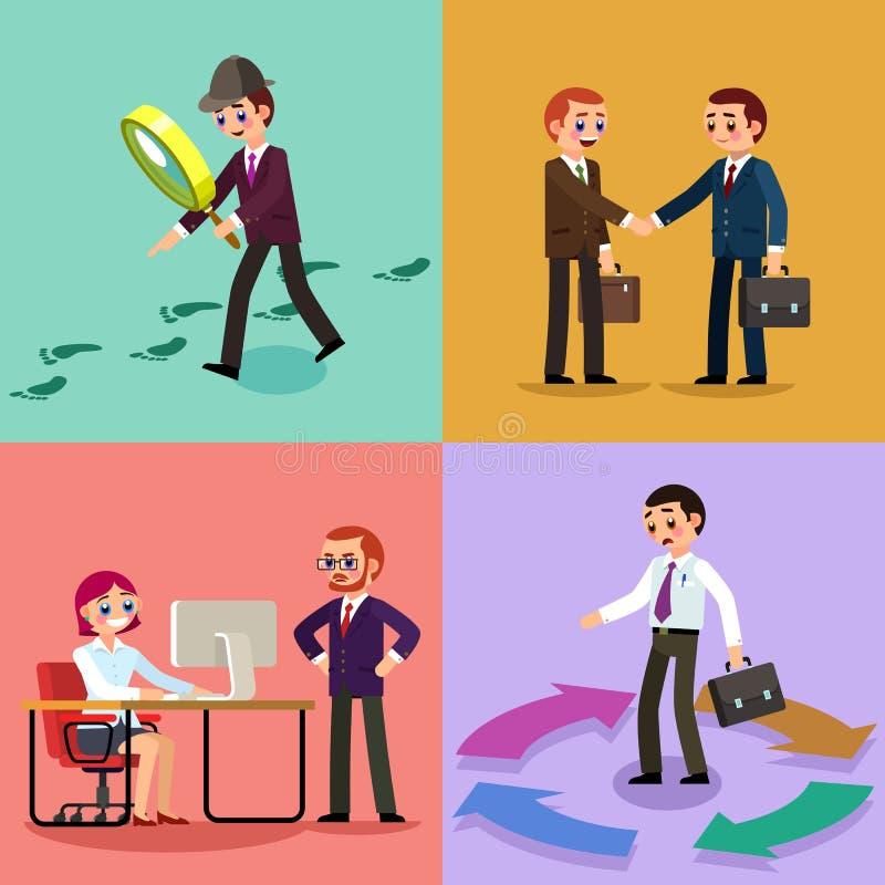 Metta dell'illustrazione di affari Lavoratori e donne immagini stock libere da diritti
