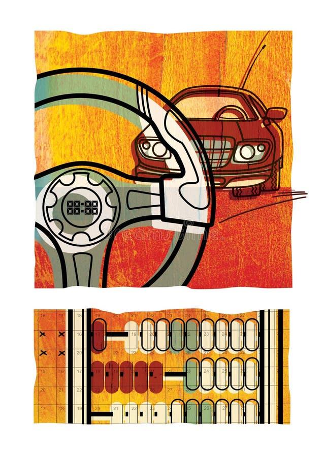 Metta dell'illustrazione digitale due Un'automobile e un primo piano di un volante Frammento dei conti aritmetici, sui precedenti illustrazione vettoriale