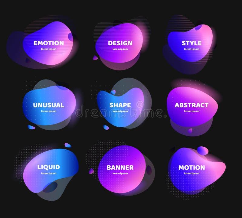 Metta dell'insegna astratta moderna di vettore Forma liquida variopinta geometrica piana Modello al neon di logo delle pietre, al illustrazione di stock