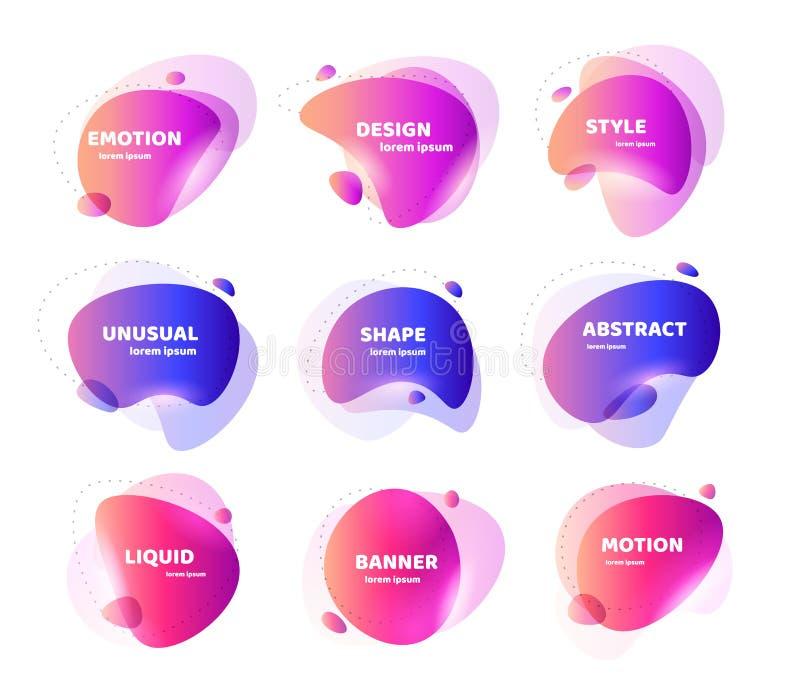 Metta dell'insegna astratta moderna di vettore Forma liquida variopinta geometrica piana Modello colorato di un logo, aletta di f illustrazione vettoriale
