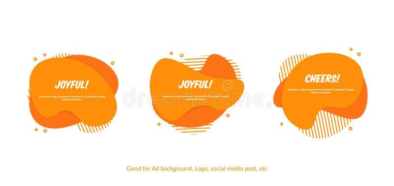 Metta dell'insegna astratta piana di vettore di Memphis Il liquido moderno modella la spruzzata arancio Progettazione pronta per  royalty illustrazione gratis