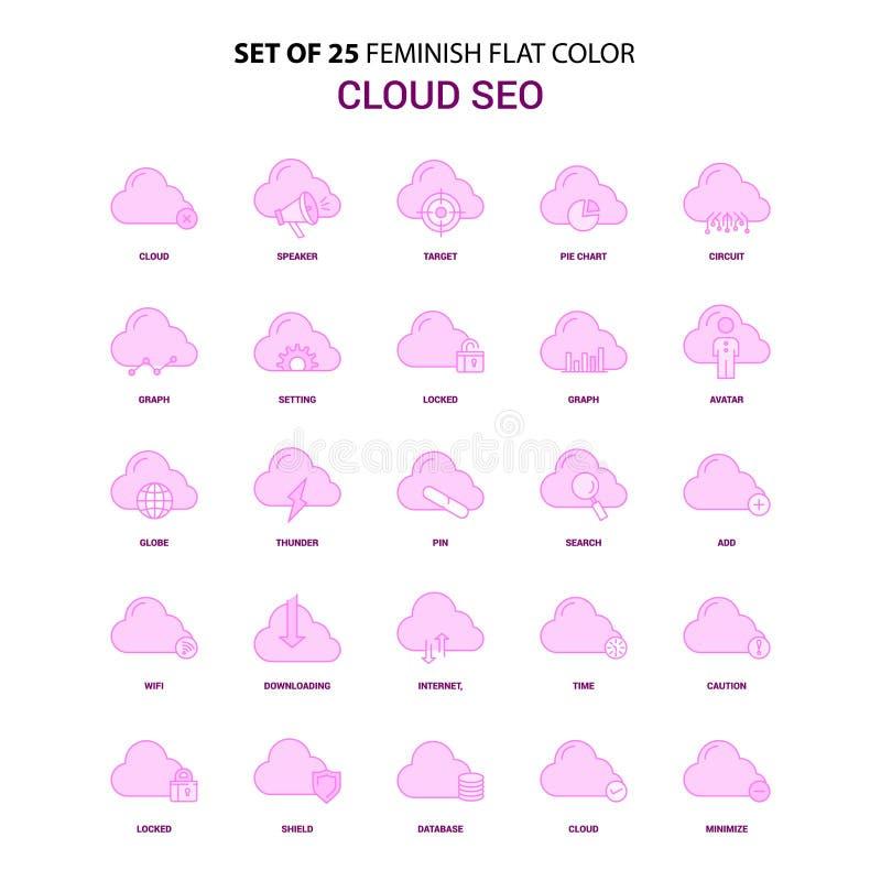Metta dell'insieme di SEO Flat Color Pink Icon della nuvola di 25 Feminish illustrazione vettoriale