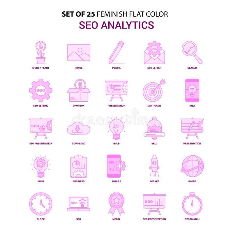 Metta dell'insieme dell'icona di 25 Feminish SEO Analytics Flat Color Pink royalty illustrazione gratis