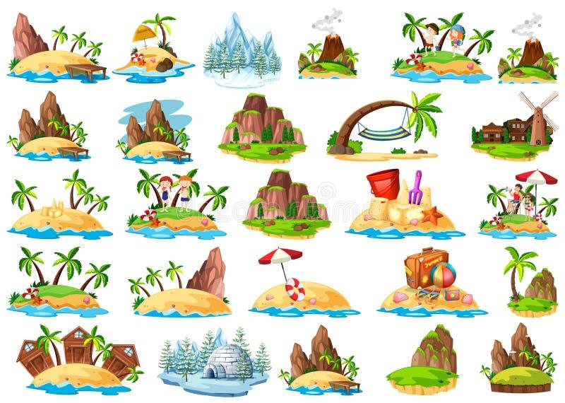 Metta dell'isola differente illustrazione vettoriale