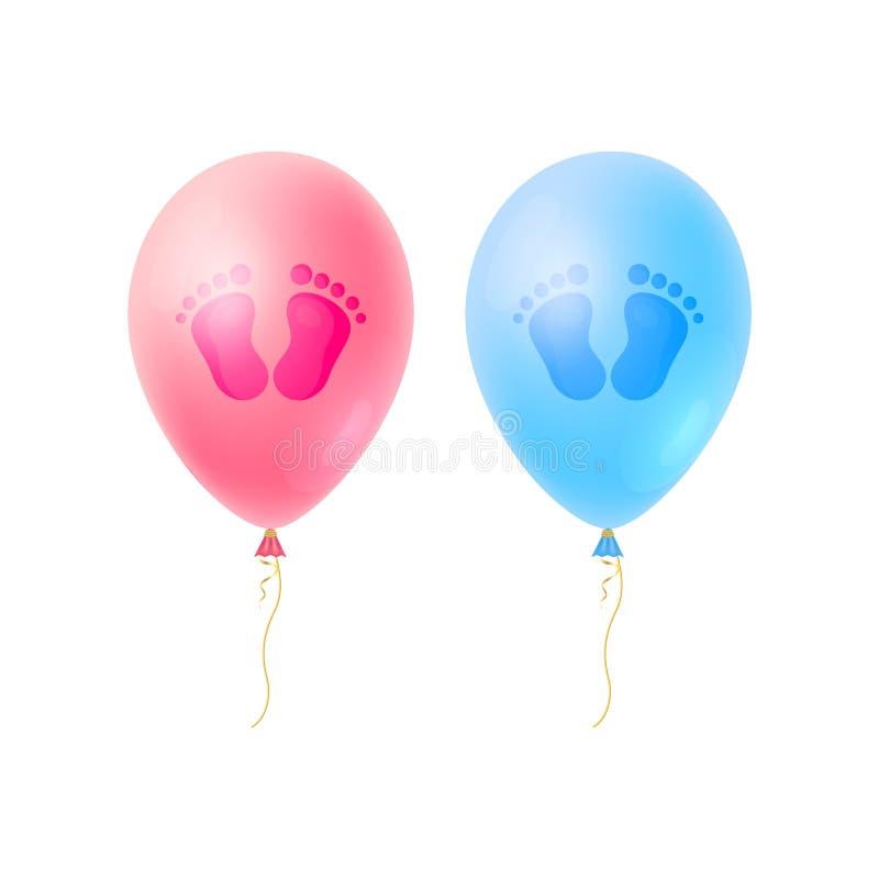 Metta dell'orma dei passi, delle ragazze e dei ragazzi del bambino con i palloni realistici È carte adorabili della ragazza di un illustrazione vettoriale