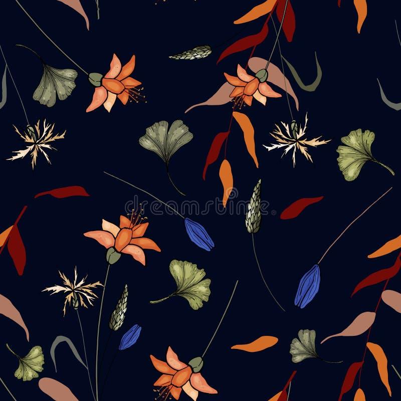 Metta dell'ornamento floreale senza cuciture per progettazione di modo, la stampa del tessuto, la carta da parati, il fondo, il w illustrazione di stock