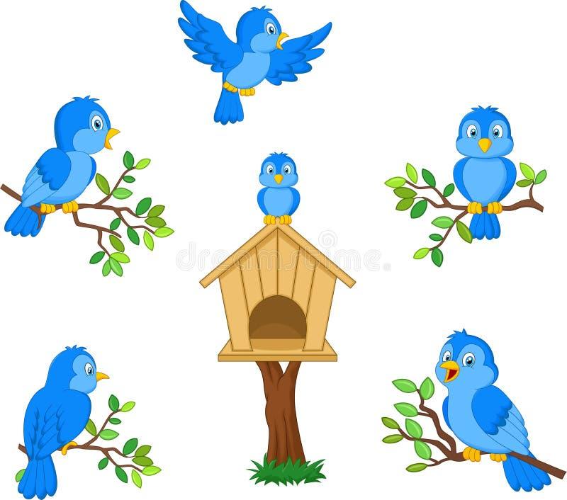 Metta dell'uccello blu del fumetto su fondo bianco illustrazione di stock