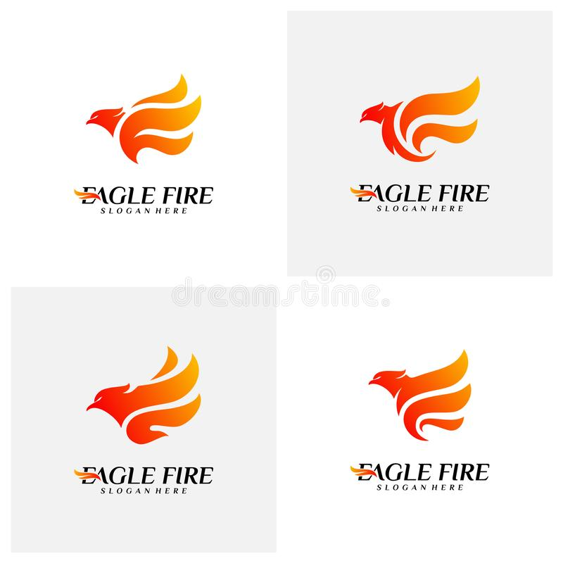 Metta dell'uccello Logo Design Concepts del fuoco di Phoenix Colomba Eagle Logo Template Vector Simbolo dell'icona illustrazione vettoriale