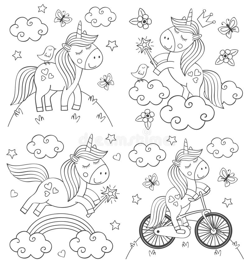 Metta dell'unicorno sveglio di coloritura isolato illustrazione di stock