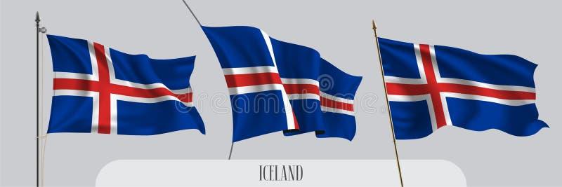 Metta della bandiera d'ondeggiamento dell'Islanda sull'illustrazione isolata di vettore del fondo illustrazione vettoriale