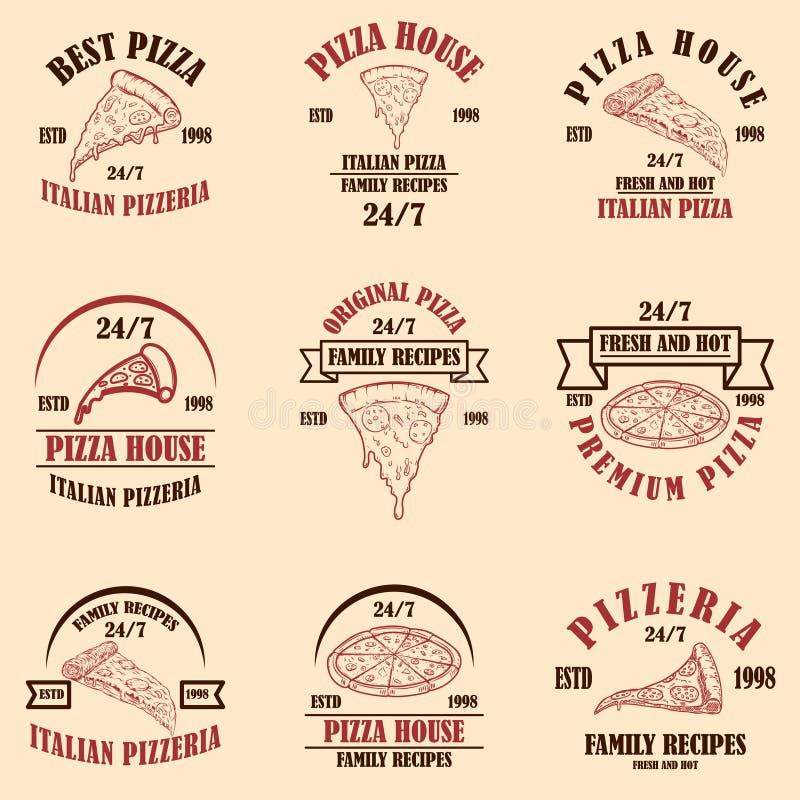 Metta della casa della pizza, pizzeria simbolizza Elemento per il manifesto, logo, etichetta, segno di progettazione illustrazione di stock