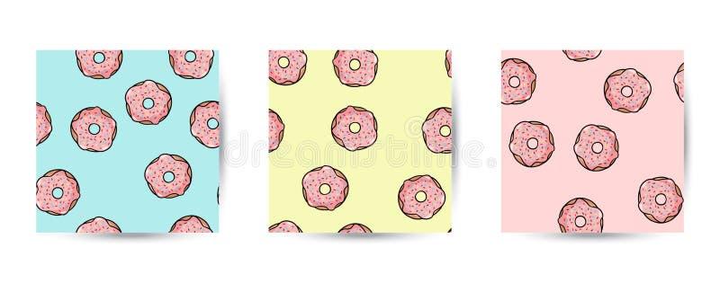 Metta della ciambella scarabocchia i modelli senza cuciture Guarnizioni di gomma piuma rosa con la guarnizione sul fondo pastello illustrazione di stock