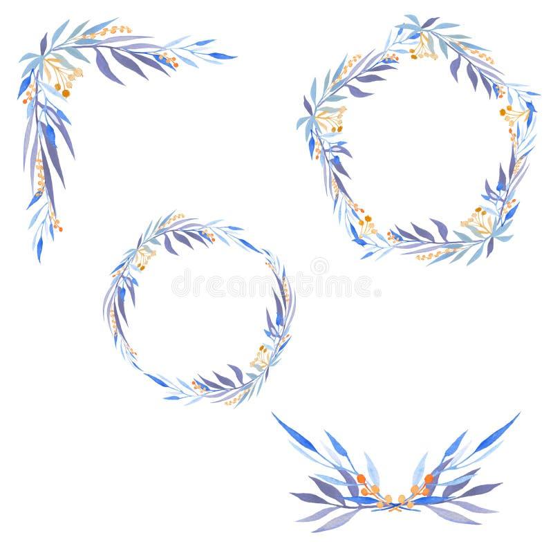 Metta della corona e degli allori dell'acquerello illustrazione vettoriale